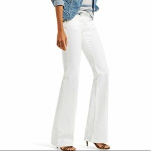 CAbi White Jean Stretch Denim Expose Zippers Flare